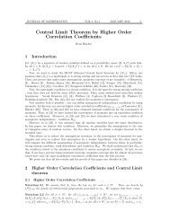 Central Limit Theorem by Higher Order Correlation Coefficients