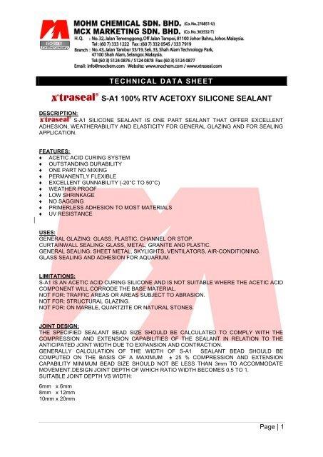 S-A1 100% RTV ACETOXY SILICONE SEALANT - Axtrada