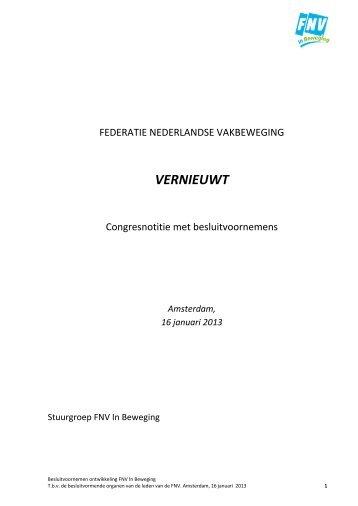 Congresstuk Besluitvoornemens - FNV Horeca
