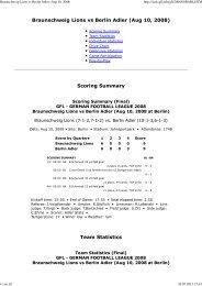Braunschweig Lions vs Berlin Adler (Aug 10, 2008) - NewYorker Lions