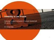 Usability in der Praxis - Schweizer Informatik Gesellschaft (SI)
