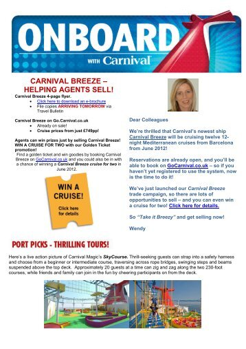 carnival breeze – helping agents sell! - Carnival Cruise Lines