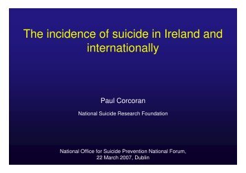 The incidence of suicide in Ireland and internationally