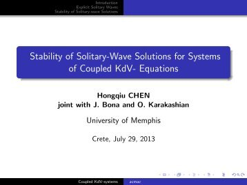 Stability of Solitary-Wave Solutions for Systems of ... - ACMAC