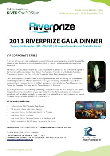 VIP Corporate Table Booking Form - International Riversymposium