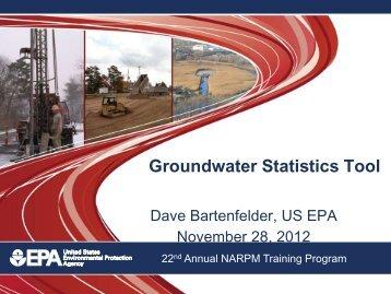 Groundwater Statistics Tool - (NARPM) Training Program