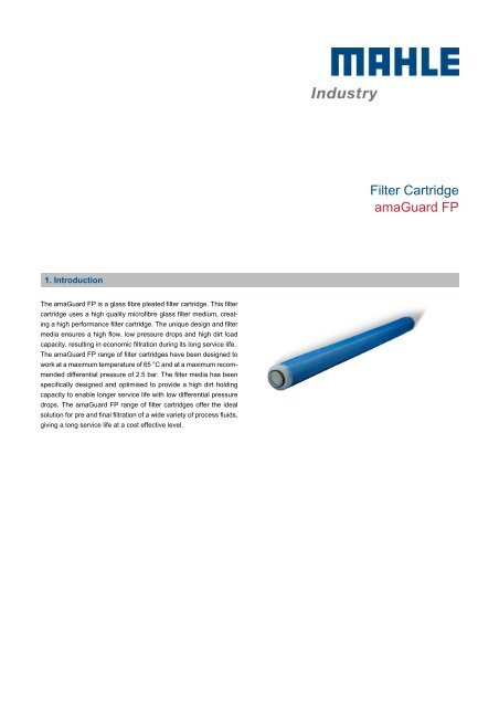 Filter Cartridge amaGuard FP - MAHLE Industry - Filtration