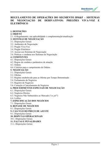 MINUTA DE REGULAMENTO DE OPERAÇÕES DA - BM&FBovespa
