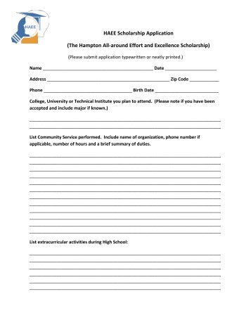 HAEE Scholarship Application 2013