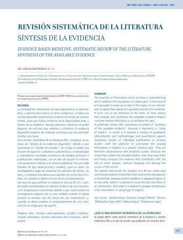 revisión sistemática de la literatura síntesis de la evidencia