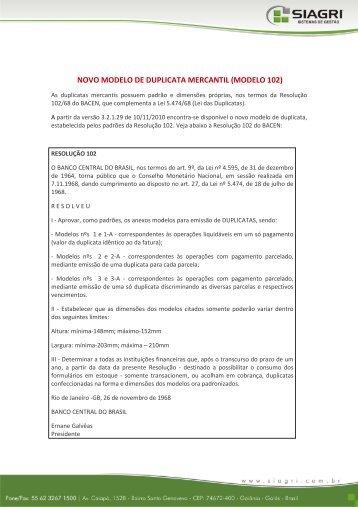 NOVO MODELO DE DUPLICATA MERCANTIL (MODELO 102) - Siagri