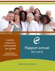 Rapport annuel 2011-2012 - Coalition ontarienne de formation des ...