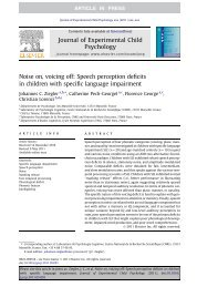 Noise on, voicing off: Speech perception deficits in children with ...