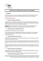 Cahier des charges des tournois individuels - Fédération Suisse de ...