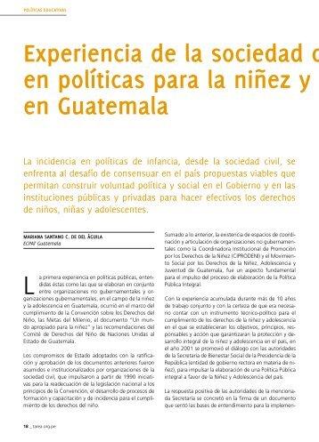 Experiencia de la sociedad civil en políticas para la niñez y ... - Tarea