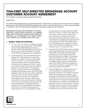 tiaa-cref self-directed brokerage account customer account agreement