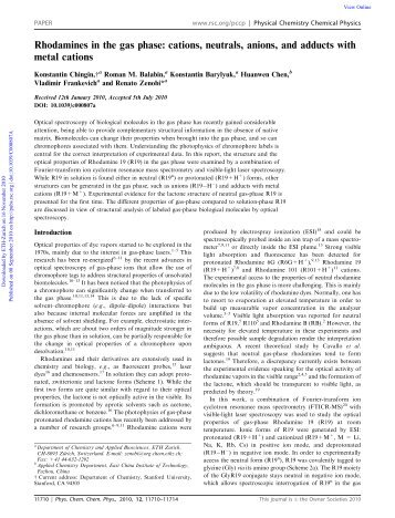 Rhodamines in the gas phase: cations, neutrals ... - ResearchGate