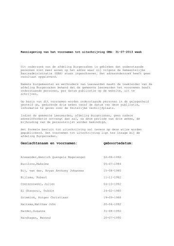 Publicaties week 31 - Gemeente Leeuwarden