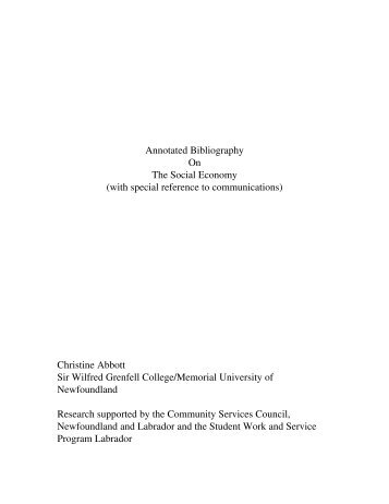 Annotated Bibliography On The Social Economy