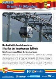 Die Freiheitlichen informieren: Situation der Innerkremser Seilbahn