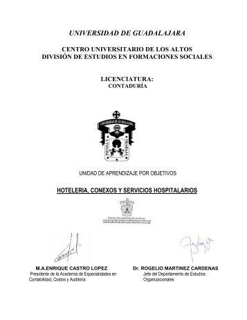 Hotelería, conexos y servicios hospitalarios - Centro Universitario de ...