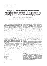 Tidligbehandlet medfødt hypotyreose: - Pediatrisk Endokrinologi