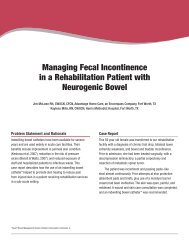 Managing Fecal Incontinence In A Rehabilitation Patient With