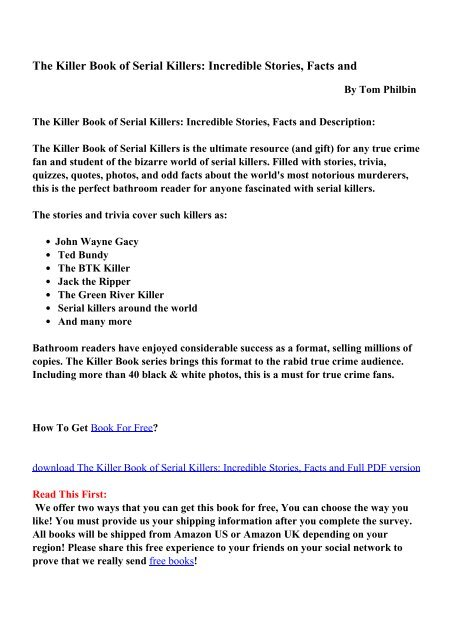 The Killer Book Of Serial Killers Pdf Ebooks Free Download