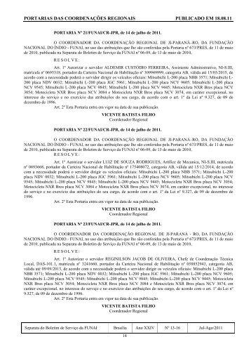 portarias das coordenações regionais publicado em 18.08.11 - Funai