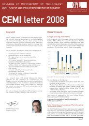 CEMI letter 2008 - Chair of Economics & Management of Innovation
