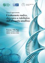 Il trattamento medico, chirurgico e riabilitativo dell'artropatia emofilica