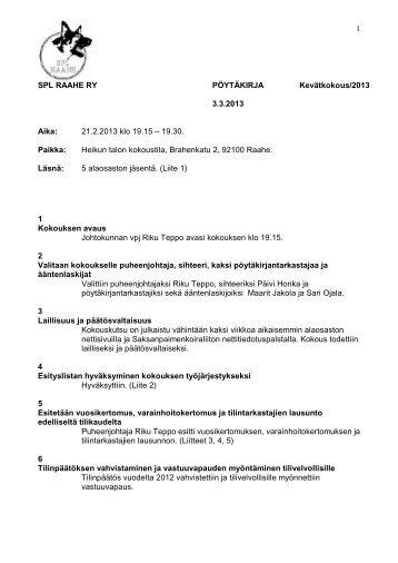 Kevätkokous 2013 - Saksanpaimenkoiraliitto ry.
