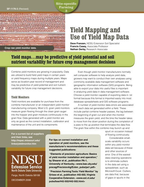 Yield Mapping and Use of Yield Map Data