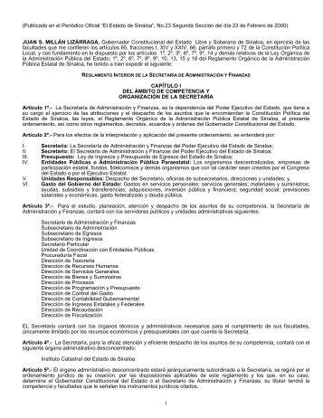 reglamento interior de la secretaría de administración y finanzas