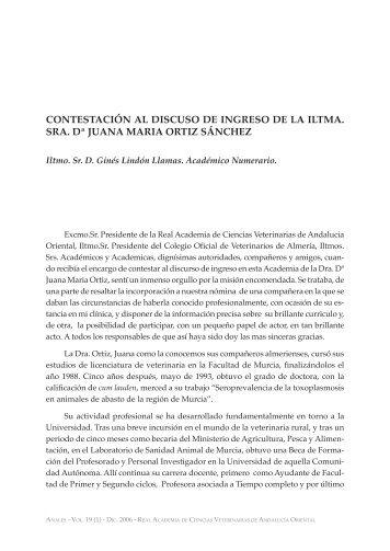 Contestación al discurso de ingreso de la Ilma. Sra. Dª Juana Maria