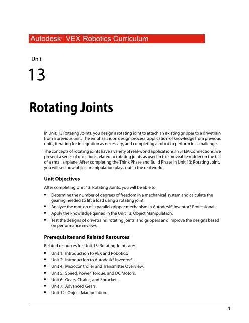 Rotating Joints Vex Robotics
