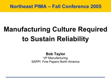 Manufacturing Culture Required to Sustain Reliability - PIMA
