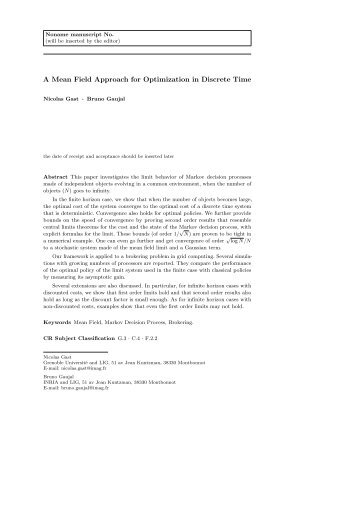 A Mean Field Approach for Optimization in Discrete Time