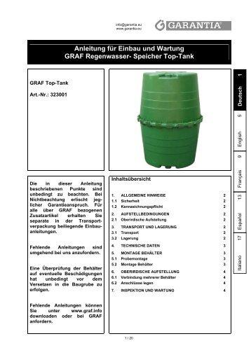 Anleitung für Einbau und Wartung GRAF Regenwasser