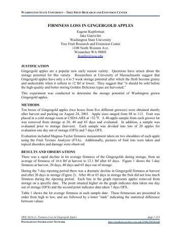 Firmness Loss in Gingergold Apples - Postharvest Information Network