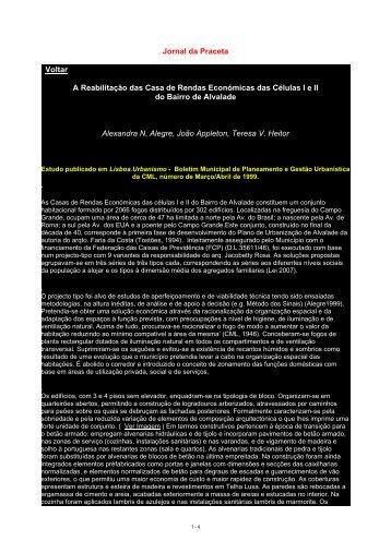 A Reabilitação das Casas de Rendas Económicas das Células I e II ...