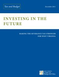 Investing in the Future - West Virginia Center on Budget & Policy