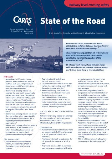 Railway level crossing safety fact sheet - Centre for Accident ...