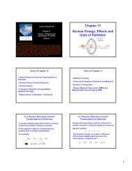 Chapter 31 Nuclear Energy; Effects and Uses of Radiation