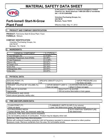 MSDS Start-N-Grow Premium Plant Food (44 KB) - Fertilome