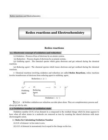 Redox reactions and Electrochemistry - TestBag