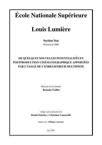 Téléchargement du mémoire - Ecole nationale supérieure Louis ...