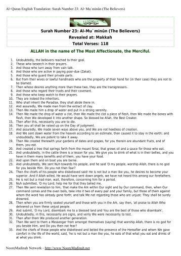 Surah Number 23: Al-Mu`minûn (The Believers) - Noore Madinah ...