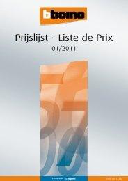Prijslijst - Liste de Prix