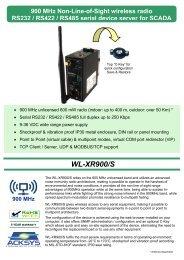 WL-XR900/S: High performance unlicensed 900 MHZ ... - ACKSYS